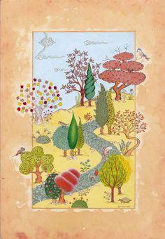 Öykü Özer - Doğa Minyatürü Iranian Art, Turkish Art, Islamic Art Calligraphy, Zen Art, Hindu Art, Naive Art, Painting Lessons, Oriental, Art Journal Inspiration