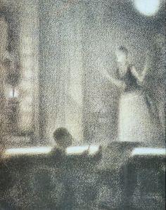 Georges Seurat - At the Gaîté Rochechouart (Café-Concert), c. Georges Seurat, Mary Cassatt, Pierre Auguste Renoir, Claude Monet, Visual Aids, Z Arts, Post Impressionism, Great Paintings, Impressionist Paintings