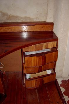 detail cabinet made with red ceder scrapwood
