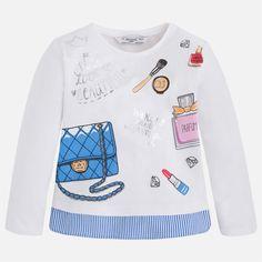 Camiseta niña manga larga bajo a rayas Cobalto