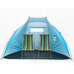 """iCorer EasyUp Outdoor Portable Beach Cabana Tent Sun Shelter Sunshade, Blue, 94.5""""L x 47.2""""W x 55""""H. UNIQUE DESIGN: Durable and lightweight polyester tent with functions of heat insulation, sun shade and reflection of light(silver coating around the full coverage), 4 stakes to anchor the tent to the ground, water resistant shell and floor, fully open front, 1 big roll up/down mesh window in the back to allow the breeze come through, 1 internal pouch to store your personal items, easily…"""