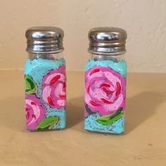 Lilly Pulitzer inspired salt and pepper shakers Lilly Pulitzer inspired salt and pepper shaker set.  Hand painted with Hotty Pink First Impressions Shakers are 2 oz size; 3.75 inches tall. Hand washable. Lilly Pulitzer Other