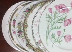 6 Mismatched Vintage Dinner Plates for Weddings, Showers, Tea Parties, Shabby Chic D163 by michilina on Etsy