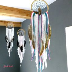 Bohemian dreamcatcher whita handmade lace colorful hippie bedroom tribal natural wall hanging by jakanestudio on Etsy