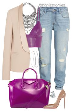 """Berry x Nude"" by highfashionfiles ❤ liked on Polyvore featuring H&M, T By Alexander Wang, Vanessa Bruno, Givenchy, Christian Louboutin and Chopard"