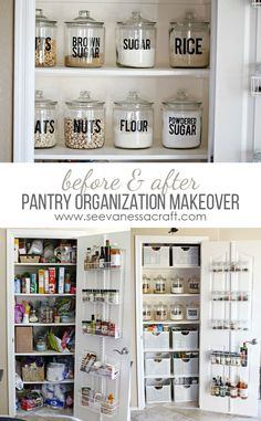 Small Pantry Organization Makeover Before & After - back-of-the-door storage units and clear jars make everything neat and organised
