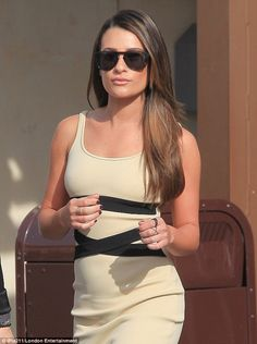 Lea Michele shows fit physique in dress at Extra set in Hollywood | Daily Mail Online