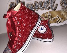 Check out our feminine logo selection for the very best in unique or custom, handmade pieces from our graphic design shops. Ribbon Shoes, Bling Shoes, Prom Shoes, Silver Shoes, Red High Top Converse, Red Converse, Converse All Star, High Top Sneakers, Bedazzled Converse