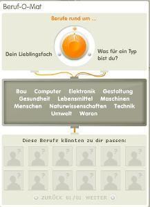 Lektion Berufe-Berufe online erleben auf beroobi.de. Mit dem Beruf-O-Mat findet ein Jugendlicher Berufe, die zu ihm passen könnten und lernt diese auf unterhaltsame Weise näher kennen.
