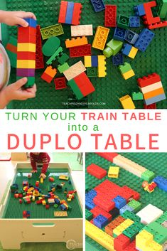 We love our train table, but there are times when we would rather use it for construction in our block area. We've found the easiest solution that converted our table into a fun Duplo building area! Indoor Activities For Toddlers, Activities For 2 Year Olds, Lego Activities, Toddler Play Table, Lego Duplo Train, Lego Math, Block Area, Train Table, Lego Table