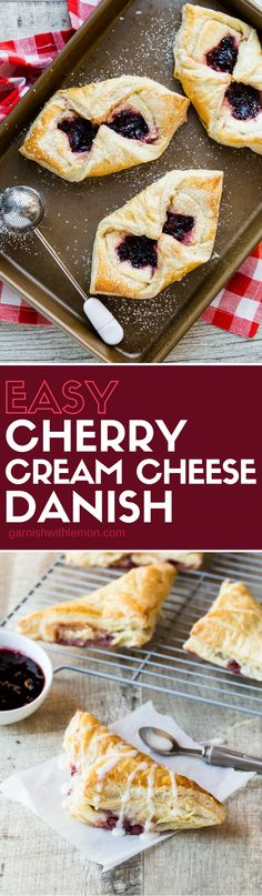 Don't be intimidated by making your own danish! This Easy Cherry Cream Cheese Danish recipe is made with frozen puff pastry dough.