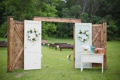outdoor wedding ceremony ideas OMG this is soooooo ME! I <3, <3, <3 everything with old shutters and barn doors and windows.