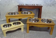Country Style Double Dog Diners from SimplyDogStuff.com are a super popular design.  Choose your desired height, wood tone, and number of bowls.  $26.25-52.50