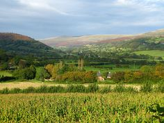Wales: Usk Valley near Tretower, autumn evening. A view of the Black Mountains, in the Brecon Beacons National Park, Breconshire (southernmost Powys, southeastern Mid-Wales near South Wales), from the valley of the River Usk