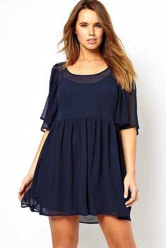 Navy Angel Sleeve Mini Plus Size Smock Dress Usd 11 80 Fashion Dresses