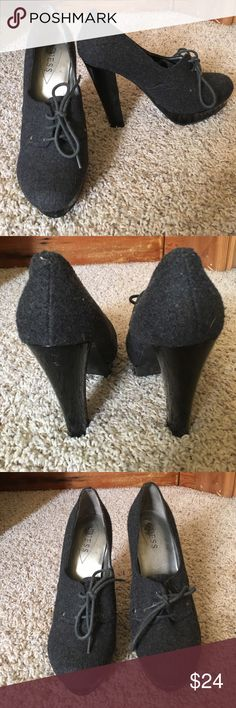 """Guess Heels Super cute guess heels, grey uppers patent heels, ~5"""" heel with one inch toe platform.  Surprisingly comfortable.  Great condition! Guess Shoes Heels"""