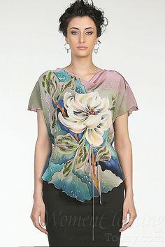 womenclothingtoday.com Silk Blouse White Flower
