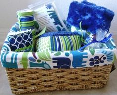 Gift Basket - New Baby - Blue Zoo - Bib, Burp Cloth, Binky Blanky, Binky Clip, Boo Boo Buddy, Soft Block. $65.00, via Etsy.