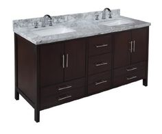 California 60-inch Chocolate Bathroom Vanity (Carrera/Chocolate): Includes Soft Close Drawers, Self Closing Door Hinges and Double Rectangular Ceramic Sinks by Kitchen Bath Collection, http://www.amazon.com/dp/B00D2WQBWO/ref=cm_sw_r_pi_dp_o3wusb00JV1YA
