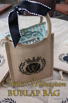 These Burlap bags already had a design on it, but we wanted to personalize them to use as Goodie Bags. Using Deco Art Stencils & SoSoft Fabric Paints, we got the final designs & they look amazing! Come see how we did it! #BurlapBags #WeddingGoodieBags #DecoArt