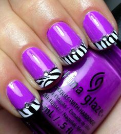 Violet with zebra Patterned French Nail Tip