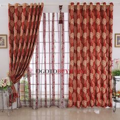 red print curtain panel | ... curtains > Charming Printed Patterns Blackout Red Curtains (Two Panels