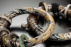Mokume Gane Polymer Bracelets by Celie Fago photo by R. Diamante