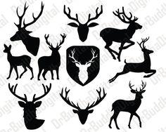 Deer SVG Collection - Deer DXF - Deer Clipart - Svg Files for Silhouette Cameo or Cricut by DrBuddhaDigital on Etsy Silhouette Cameo, Animal Line Drawings, Halloween Chalkboard, Cricut Air 2, Half Sleeve Tattoos Designs, Printable Designs, Printables, Jar Art, Skull Logo