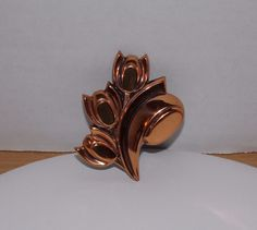 "VINTAGE LRG COPPER TULIP BROOCH RENOIR SIGNED 2 5/8"" PIN COSTUME JEWELRY GlG #Renoir"