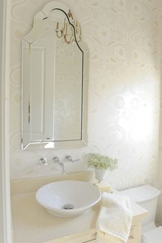 Amazing Powder Room With Polished Nickel Wall Mount Faucet Allen Roth Hovan Arch Frameless Mirror Ivory Vanity Round Vessel Sink And Cream Gold