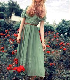 Women's Green Chiffon Long skirt circumference long dress maxi skirt maxi dress Cocktail Dress Party Wedding Prom Dress  S-L. $56.99, via Etsy.