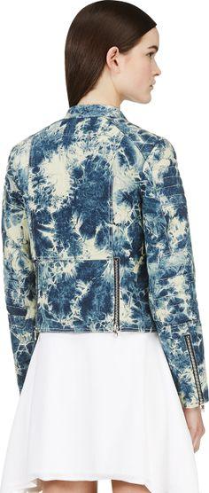 3.1 Phillip Lim: Blue Quilted Splattered Denim Biker Jacket