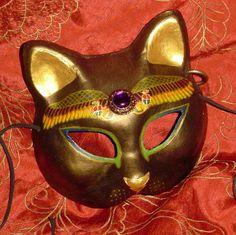 Bast Bastet Sekhmet Mask Egyptian Goddess of War, Storms, LARP Cosplay Goth Punk. $41.00, via Etsy.