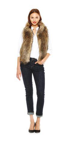 Stripe Faux Fur Vest - Joe Fresh