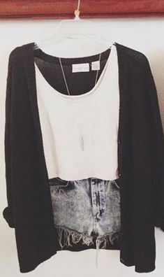 high waisted shorts | muscle tee | cardigan