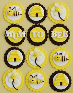 Mum To Bee cupcake toppers