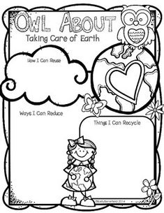 Earth Day: Owl About Taking Care of the Earth.  Perfect for Earth Day.  Students can write about ways to reduce, reuse, and recycle to take care of our earth.  $