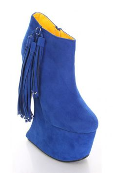 Royal Blue Velvet Side Tassel Anti Gravity Bootie Wedges    (the soles are yellow!)