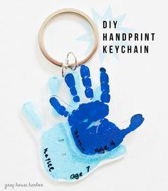 DIY Handprint Keychain - great gift idea!   greyhouseharbor.com