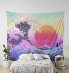 Great Wave Vaporwave Retro Aesthetic Tapestry.
