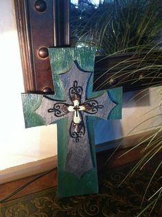 Hunter Green & Black Wooden Layered Cross by bstreetboutique, $18.50