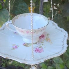 Teacup Bird Feeder vintage pink roses floral china repurposed shabby chic