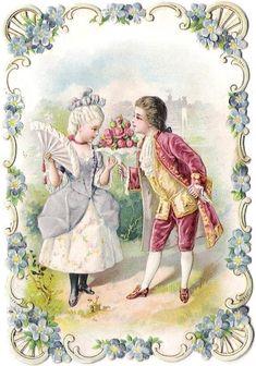 Oblaten Glanzbild scrap die cut chromo Karte card Kind child Paar couple