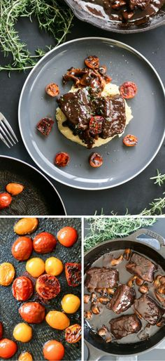 Braised short ribs are super easy to make, delicious, and you can make them the day before if entertaining - what's not to like? Dairy Free Recipes, Great Recipes, Favorite Recipes, Dinner Party Menu, Good Food, Yummy Food, Beef Short Ribs, Braised Beef, Food Heaven