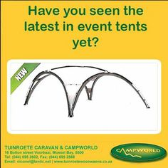 Have you seen the latest in event tents? This easy to assemble, cover tent is ideal for any occasion and at a price which is extremely affordable. Tuinroete Woonwaens Campworld MB is offering you this at less than R2800.00. Visit our store in Voorbaai for these and many more fantastic special offers. #outdoors #camping