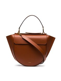4eb4a45cadb2b3 Shop Wandler Brown leather Hortensia shoulder bag Leather Handle, Smooth  Leather, Brown Leather,