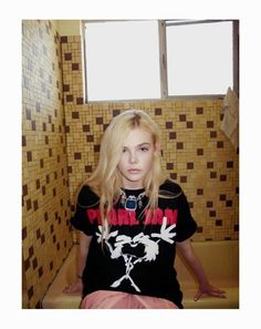 Elle Fanning in Rodarte (I like the rock tee with skirts & big jewelry)