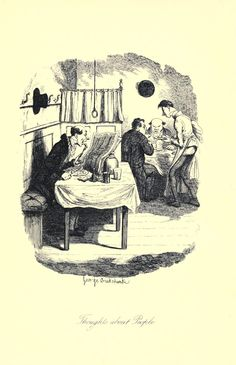 Thoughts about People (inside a typical eatery) by George Cruikshank, Sketches by Boz, 1836. Archives.org