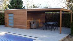 3d_utf-8_q_box_met_luifel_004 Outdoor Lounge, Outdoor Decor, Pavillion, Backyard Buildings, Exterior, Backyard Projects, Backyard Designs, Pergola, New Homes