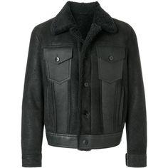Neil Barrett shearling trucker jacket (3,845 CAD) ❤ liked on Polyvore featuring men's fashion, men's clothing, men's outerwear, men's jackets, grey, mens shearling jacket, neil barrett men's jacket, mens grey jacket and mens gray leather jacket